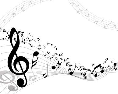 Music notes on white background
