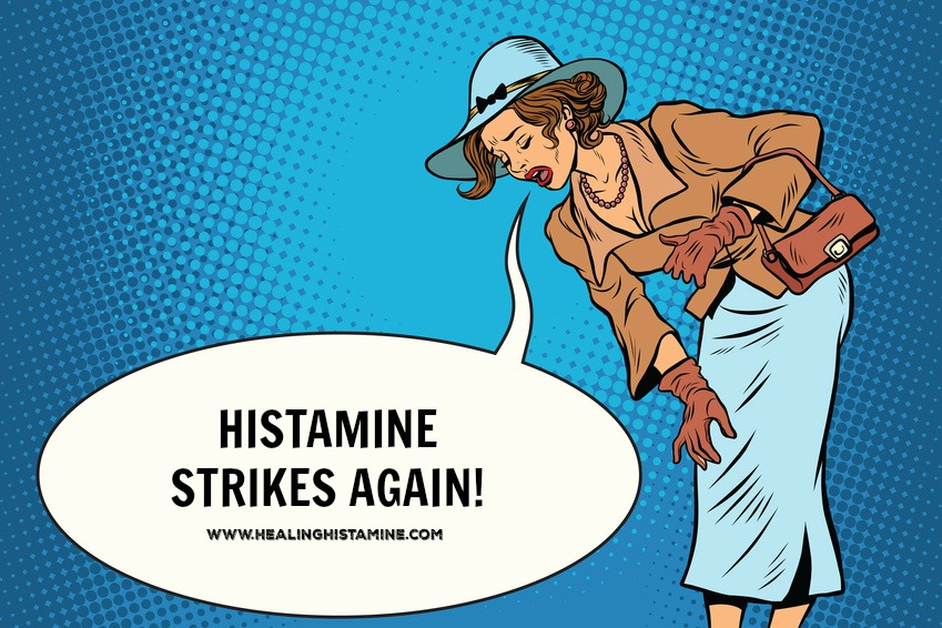 """retro cartoon woman bending over text bubble reads """"histamine strikes again!"""""""