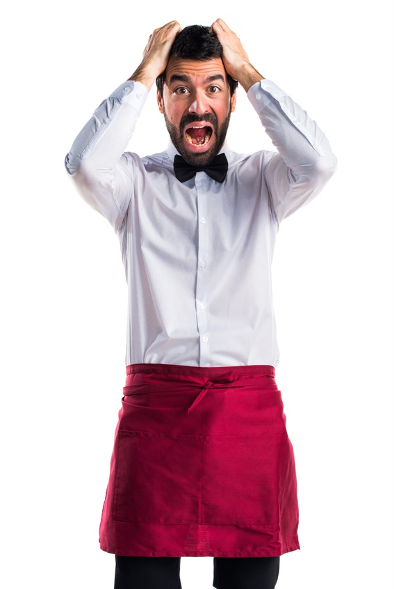 frustrated waiter on white background