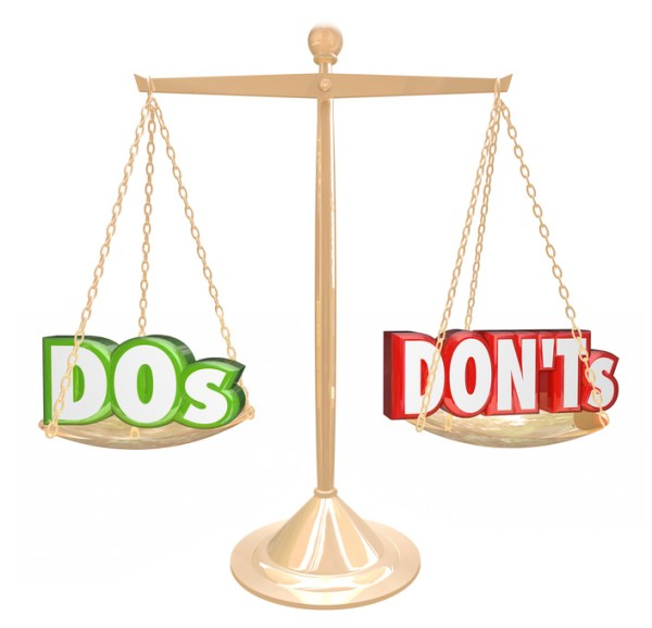 Dos and Don'ts words on a gold scale to illustrate tips or advice on what you must do or perform vs actions to avoid