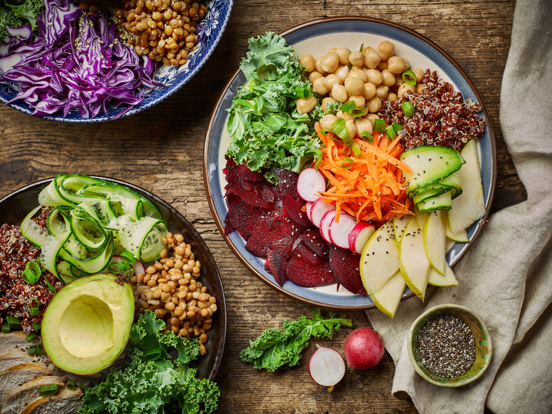 histamine diet Breakfast power bowls for healthy eating on wooden kitchen table, top view