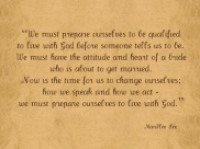 Prepare ourselves to live with God