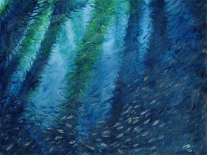 Jack Mackerel Amongst the Kelp by Karen T Hluchan