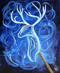 Ethereal painting of a male deer