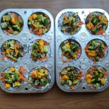 Garden Sushi Cups are an easy, colorful, and tasty vegan sushi recipe.