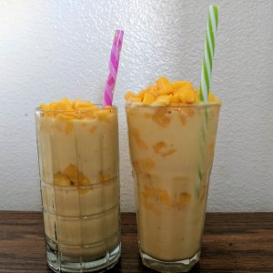 Mango smoothie recipe - pictured with diced fresh mango pieces.