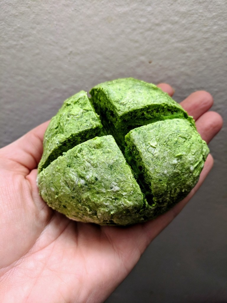 Green Soda Bread,  a dairy-free, oil-free, vegan recipe