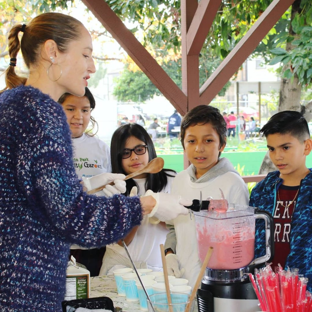 The Frugivore Diet author Reya Steele at work teaching nutrition science and healthy food preparation to students in Southern California.