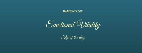 emotional vitality tip of the day on dark blue background