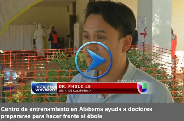 HEAL Initiative Co-Founder, Dr. Phuoc Le speaking to a Univision reporter in Spanish about the current need for adequate training and support health professionals joining the Ebola response movement.