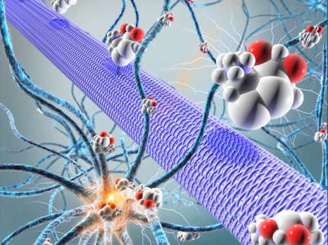 The organic electronic micropump (represented by a purple cylinder) directly releases among the neurons, active molecules (spheres) that will control the activity of these neurons (here they will stop the epileptic activity).  © Adam Williamson, Christophe Bernard, ID Labs, Arab4D (Christophe Bernard: Controlling Epileptiform Activity with Organic Electronic Ion Pumps. DOI: 10.1002/adma.201500482. 2015. Copyright Wiley-VCH Verlag GmbH & Co. KGaA. Reproduced with permission).