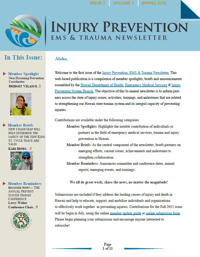 EMS Amp Injury Prevention System Branch Injury Prevention EMS Amp Trauma Newsletter
