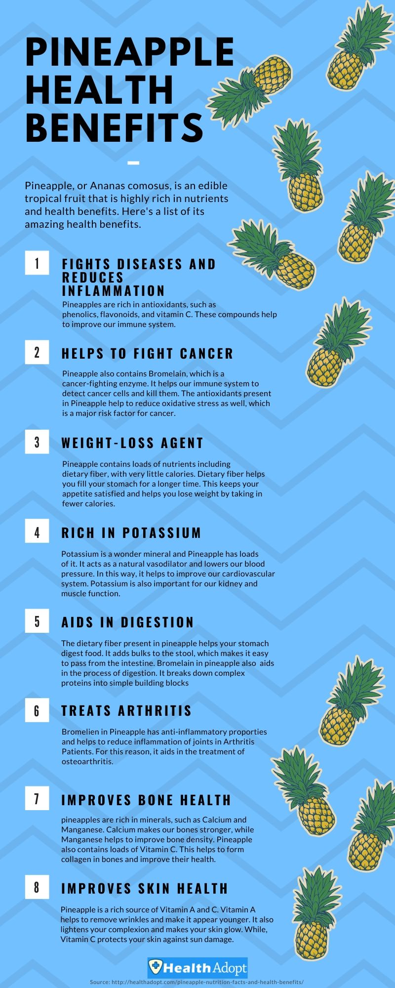 Pineapple Health Benefits Infographics