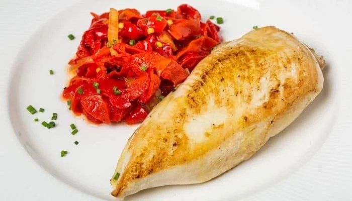 Chicken recipe with red and green peppers