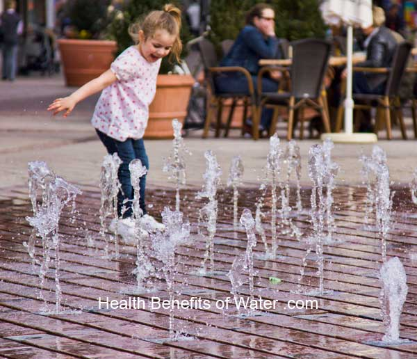 Water fountains generate negative ions, purifying the air around