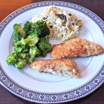 Herb crusted chicken with basil feta orzo