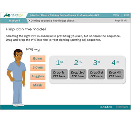 Screentshot of Advantedge Education drag and drop activity to demonstrate the donning PPE sequence