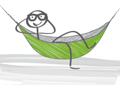 Illustration of stick figure lounging in a hammock
