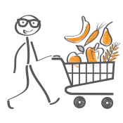 Illustration of stick person pushing shopping cart with fruits and vegetables
