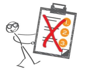 Illustration of stick person with list marked with a big red X