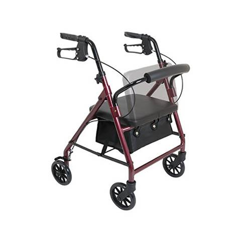 "Pro Basics Steel Rollator 6"" Wheels Burgundy 300 lb Weight Capacity Walker Michigan USA"