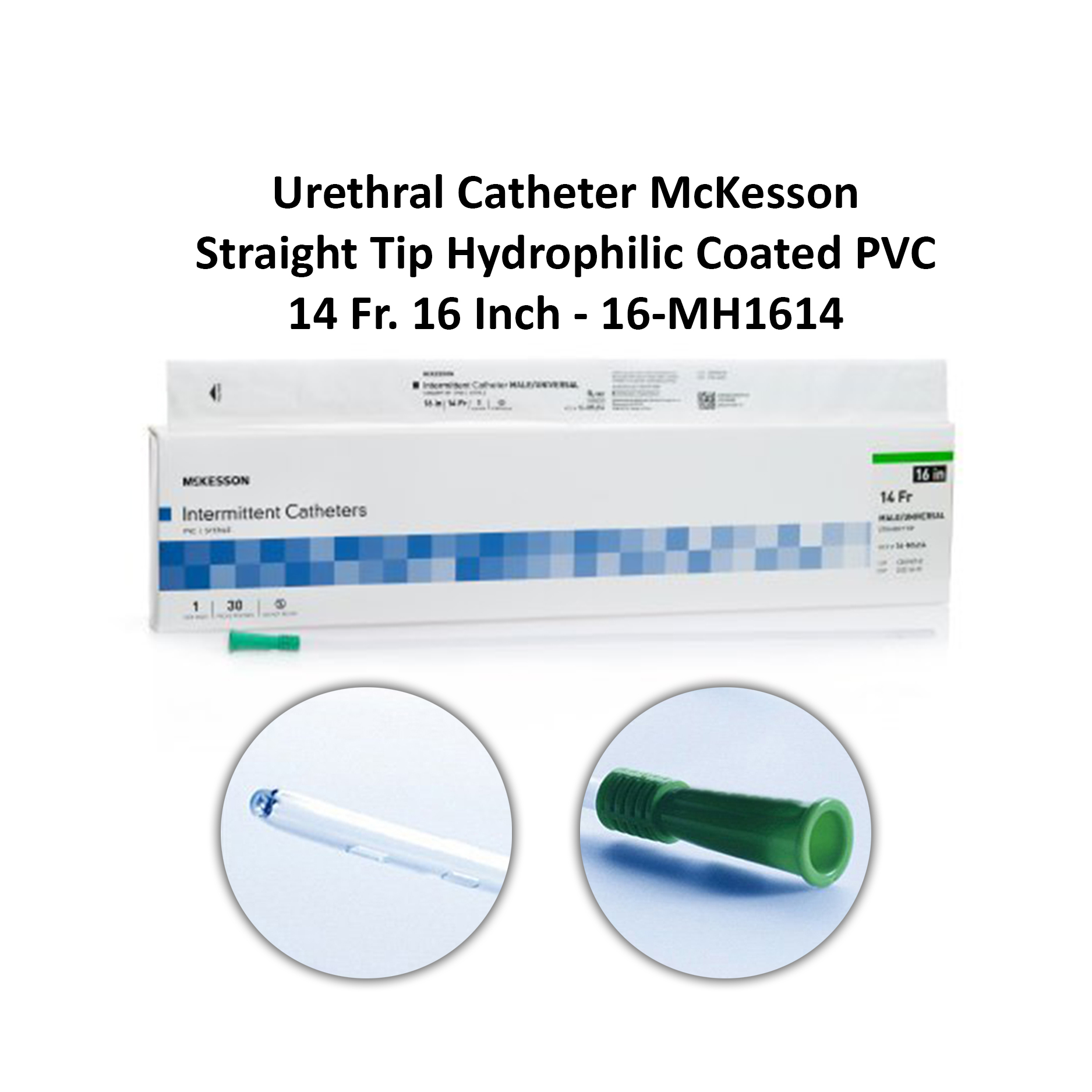Urethral Catheter McKesson Straight Tip Hydrophilic Coated PVC 14 Fr. 16 Inch - 16-MH1614