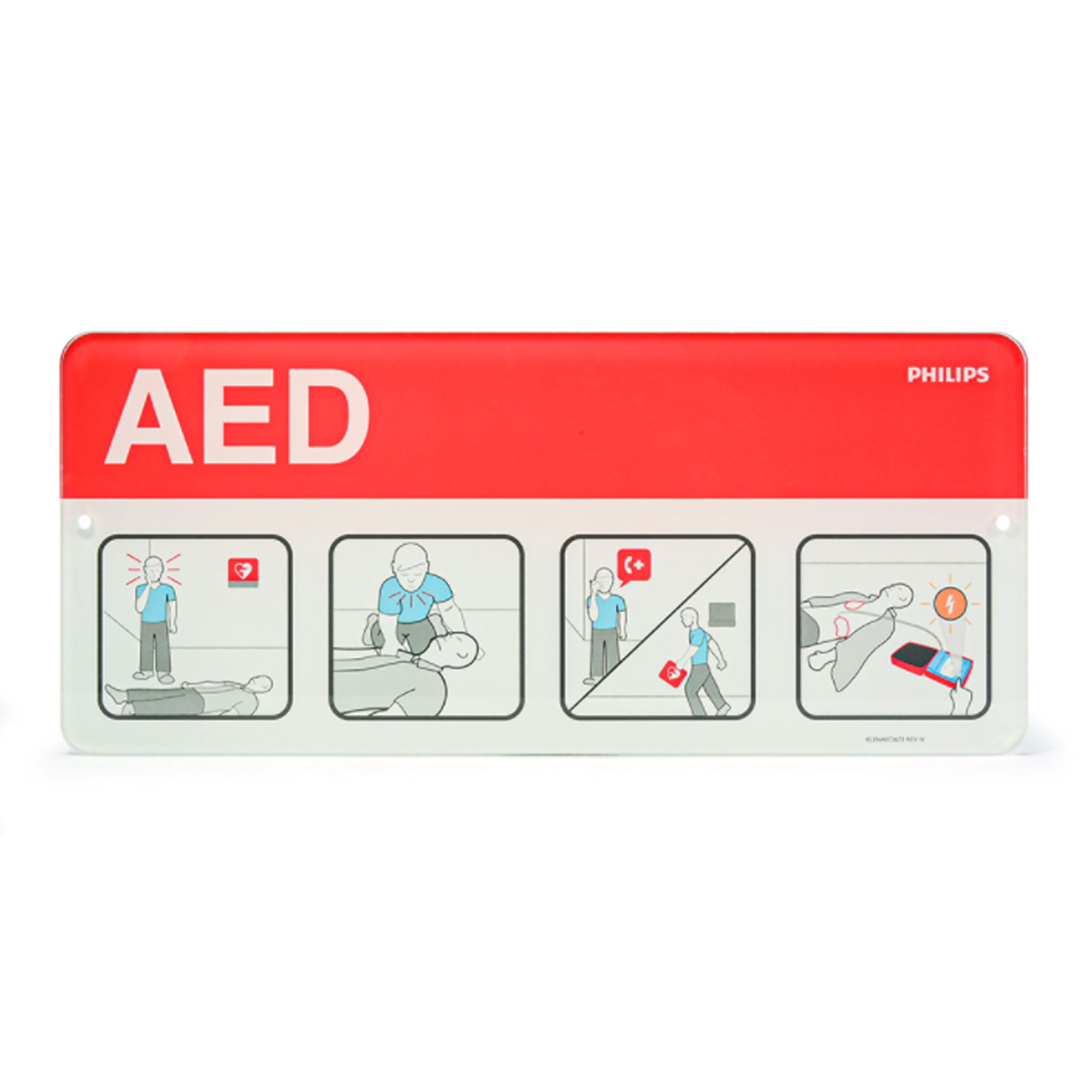 Philips AED Awareness Sign Placard - Red 989803170901 in Michigan USA