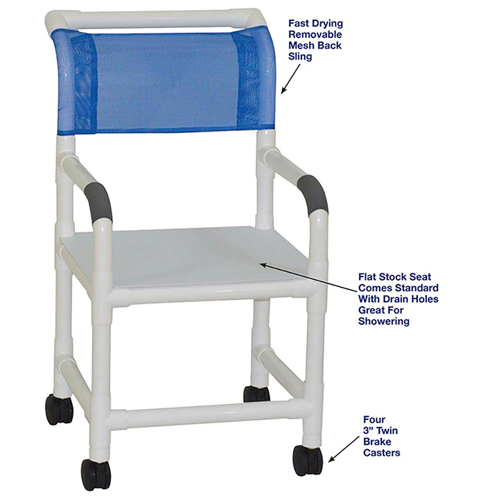 MJM SHOWER CHAIR WITH FLAT STOCK SEAT 118-3-F in Michigan USA