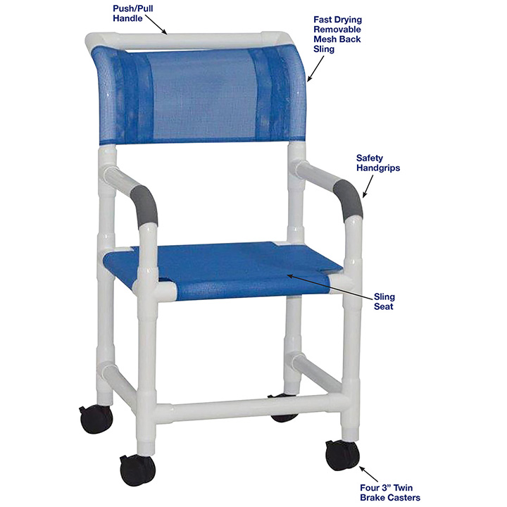 MJM SHOWER CHAIR WITH SLING SEAT - 118-3-SL in Michigan USA