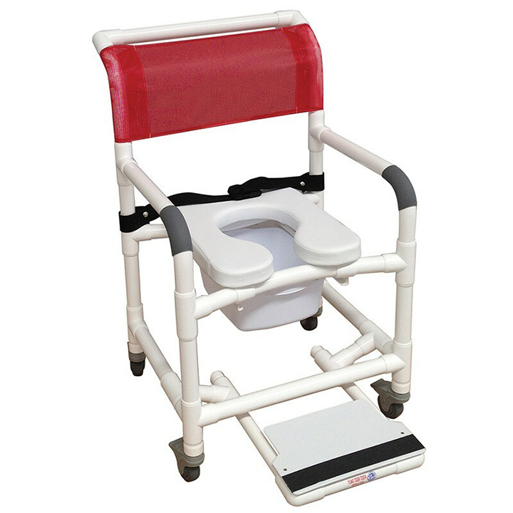 """MJM Wide shower chair 22"""" internal width- 3"""" TOTAL LOCK casters- clamp on seat- buckle safety belt- slide out footrest & Square Pail 122-3TL-VS-BB-22-10-QT-C-SF"""