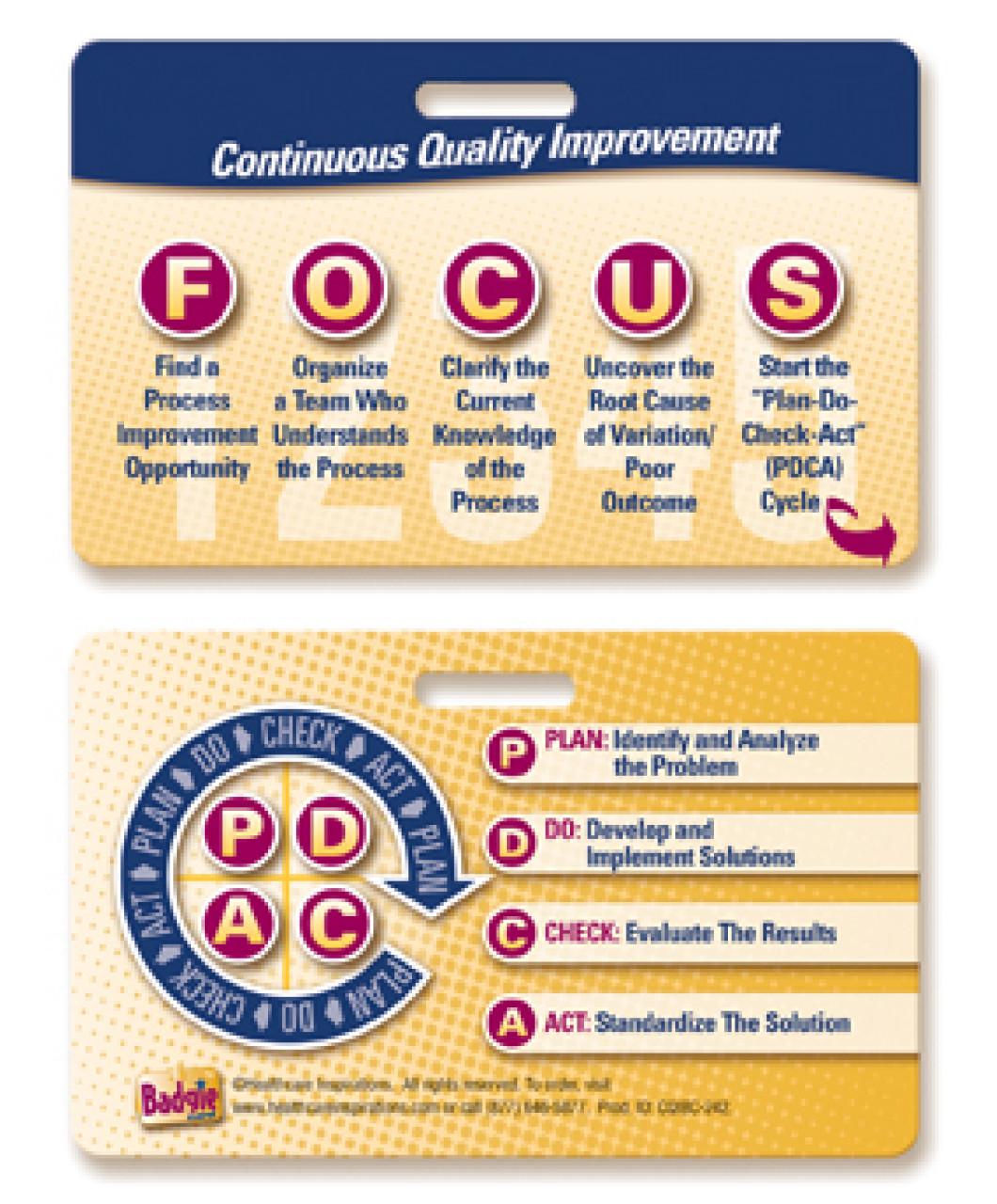 Focus Pdca Badgie Card