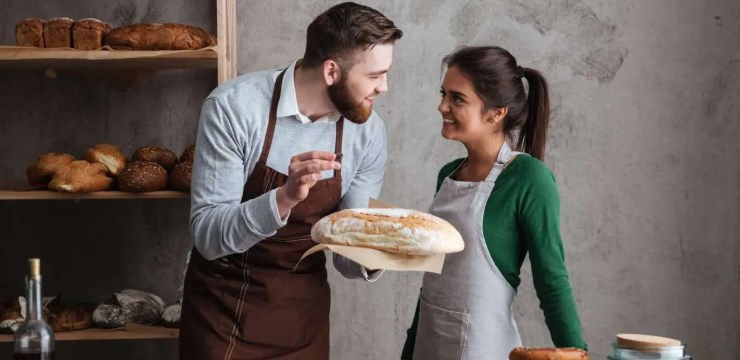 Gluten in bread with couple