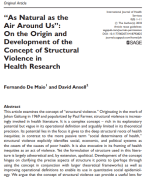 """As Natural as the Air Around Us"": On the Origin and Development of the Concept of Structural Violence in Health Research"
