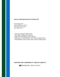 Review of Health Equity Research in Chicago 2016