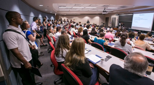 A standing room only crowd for the morning session as DePaul University and the Center for Community Health Equity host the annual Health Disparities and Social Justice Conference Friday, Aug. 12, 2016, on the Loop campus. The conference focused on social justice in the context of public health in Chicago. (DePaul University/Jamie Moncrief)