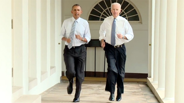Barack Obama and Joe Biden go jogging