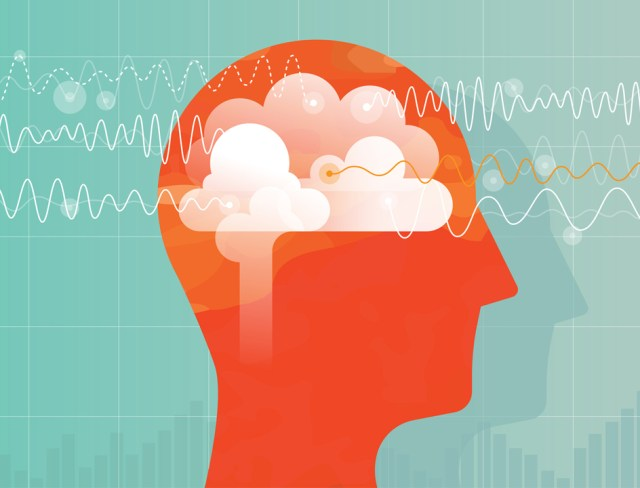 head of person with brain waves enhance brain power
