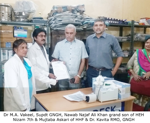 Nizams grandchildren donate Medical Devices & Surgical items to Nizamia