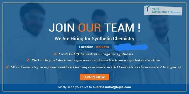 TCG Lifesciences Hiring Fresh Ph D Chemistry Experienced MSc Chemistry Candidates for Synthetic Chemistry