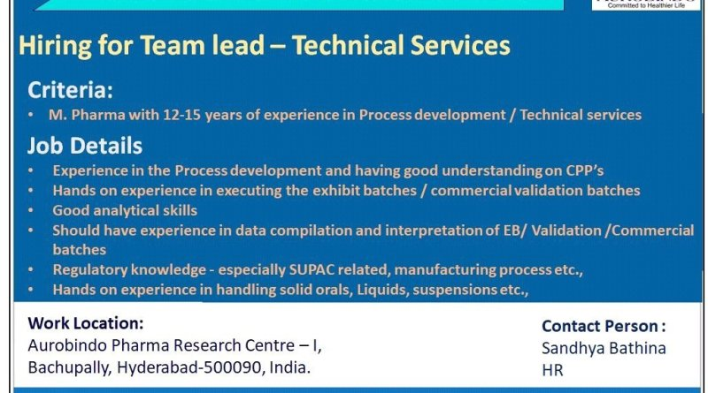 Aurobindo Pharma Limited Hiring for Team Lead Technical Servies