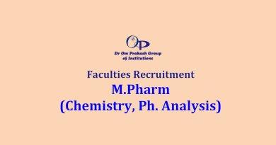 Dr Om Prakash School of Pharmacy Faculty recruitment