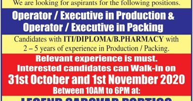 EVERTOGEN life Sciences Operator executive in Production Walk in on 31 oct and 1st nov 2020