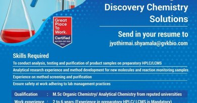 GVK BIO Multiple Requirements of Research Associate Sr Research Associate Discovery Chemistry Solutions