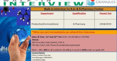 Granules India Limited Walk In Interviews for BPharmacy Freshers on 21st and 22nd Oct 2020