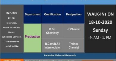 Hetero Labs Limited Walk In Interviews for FRESHERS on 18th Oct 2020
