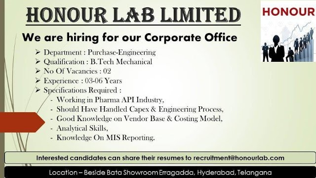 Honour Lab Limited Urgent Openings for Purchase Engineering Department Apply Now