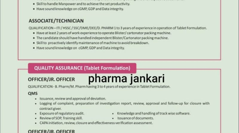 INDOCO REMEDIES Ltd Walk in Interviews for packing Tablet Formulation QA on 19 oct to 20 oct 2020