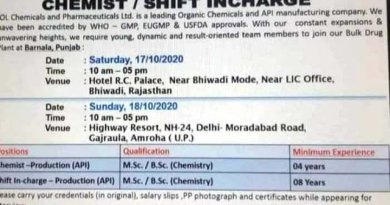 IOL Chemicals and Pharmaceuticals Ltd Walk In Interviews on 17th and 18th Oct 2020