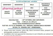 Intas Pharmaceuticals Ltd Walk in Interviews for QC Department on 24 oct 2020