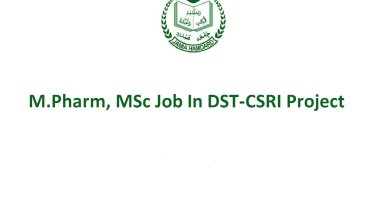 Jamia Hamdard Opportunity for MPharm MSc In DST CSRI Project